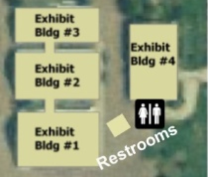 Map of the exhibit buildings at the Gallatin County Fair Grounds