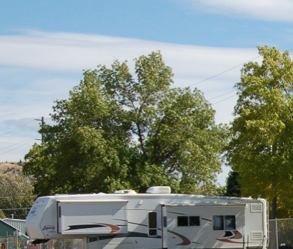 An RV camper parked under some trees